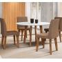 Conjunto Mesa De Jantar Turmalina Com 4 Cadeiras Jade Pés Oblongo - RV Moveis