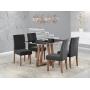 Conjunto Sala de Jantar mesa Livia Tampo vidro/mdf preto e cadeiras Dália preta - Sonetto