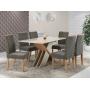 Conjunto Mesa Sarah Vidro com 6 Cadeiras Elegance cinza - Sonetto Móveis