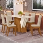 Conjunto Sala de Jantar Mesa Epic 160cm e 6 Cadeiras Isa Linho - HENN