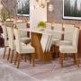 Conjunto Sala de Jantar Mesa Epic 200cm e 6 Cadeiras Tauá Linho - HENN