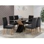 Conjunto Sala de Jantar Mesa Sarah Tampo de Vidro/MDF preto com 6 Cadeiras Elegance preto - Sonetto Móveis