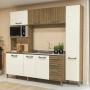 Cozinha Compacta 7 Portas 3 Gavetas com Tampo E780 Freijó/Off White - Kappesberg