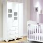 Guarda Roupa de Bebê 3 Portas 3 Gavetas Uli Branco Brilho - Móveis Peroba