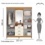 Guarda Roupa de Casal com Espelho Ágata - Albatroz Móveis
