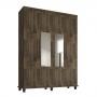 Guarda-Roupa Solteiro 04 Portas com Espelho Lisboa - RV Móveis