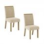 Kit 2 Cadeiras com Tecido Suede - Nature/Linho - Henn
