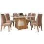 Mesa Dala com tampo curvo de vidro e 8 cadeiras - Dj Moveis