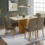 Conjunto Mesa de Jantar Vértice com 06 Cadeiras Vega Nature com Bege - Henn