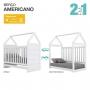 Quarto de Bebê Completo Americano Berço 100%MDF + Cômoda + Guarda Roupa - Henn