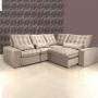 Sofá de Canto Retrátil e Reclinável - Suede Veludo Bege - 3x2,5m - Madri