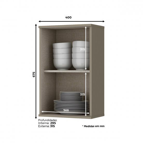 Armário Aéreo de Cozinha Modulada 1 Porta 67cm x 40cm Connect Henn