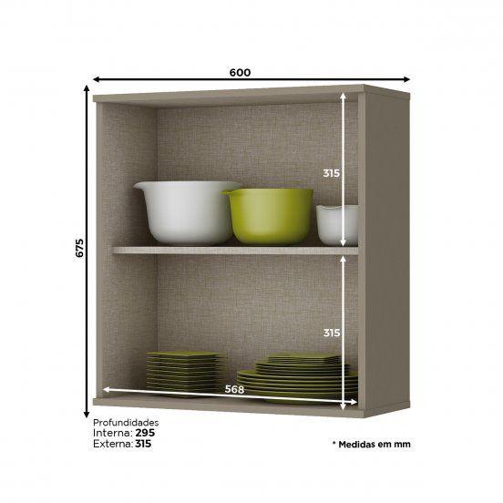 Armário Aéreo de Cozinha Modulada 1 Porta 60cm Connect Henn
