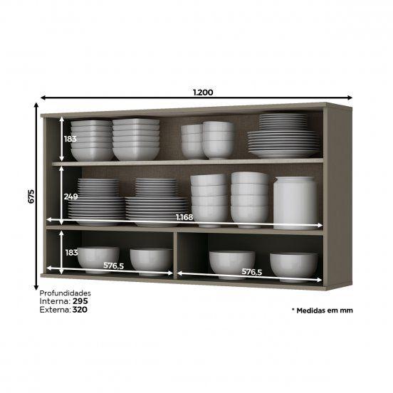 Armário Aéreo de Cozinha Modulada 1 Porta Basculante com Vidro e Nicho 1,20m Connect Henn