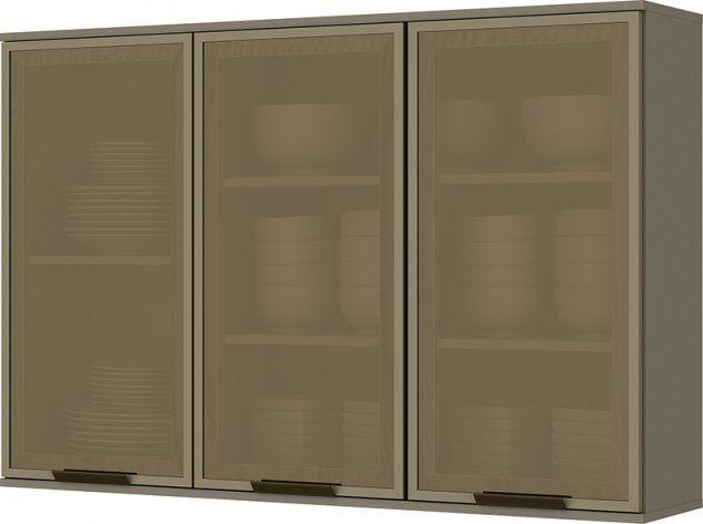 Armário Aéreo de Cozinha Modulada 3 Portas com Vidro 1,20m Connect Henn