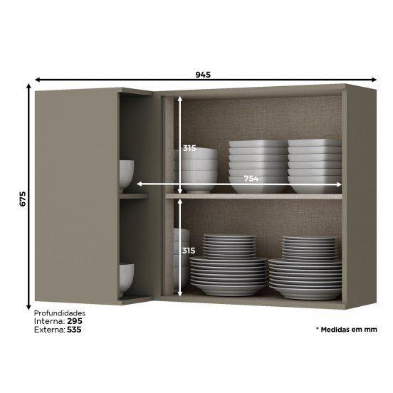 Armário Aéreo de Cozinha Modulada Canto Reto 1 Porta 94cm Connect Henn