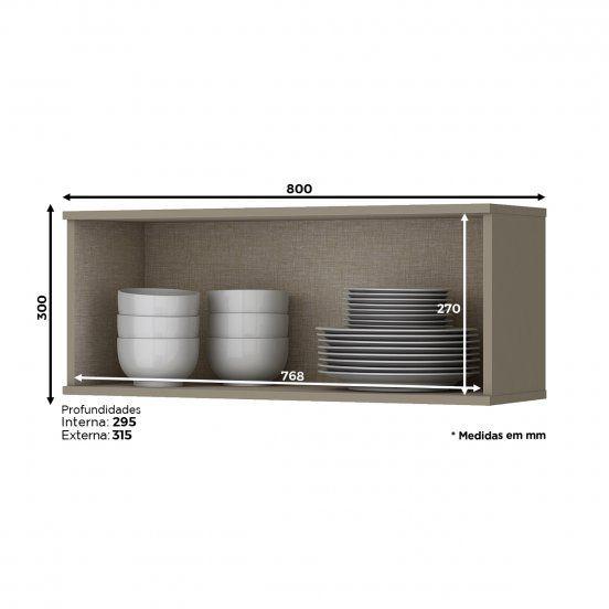 Armário Aéreo de Cozinha Modulada 1 Porta Basculante 80cm Connect Henn