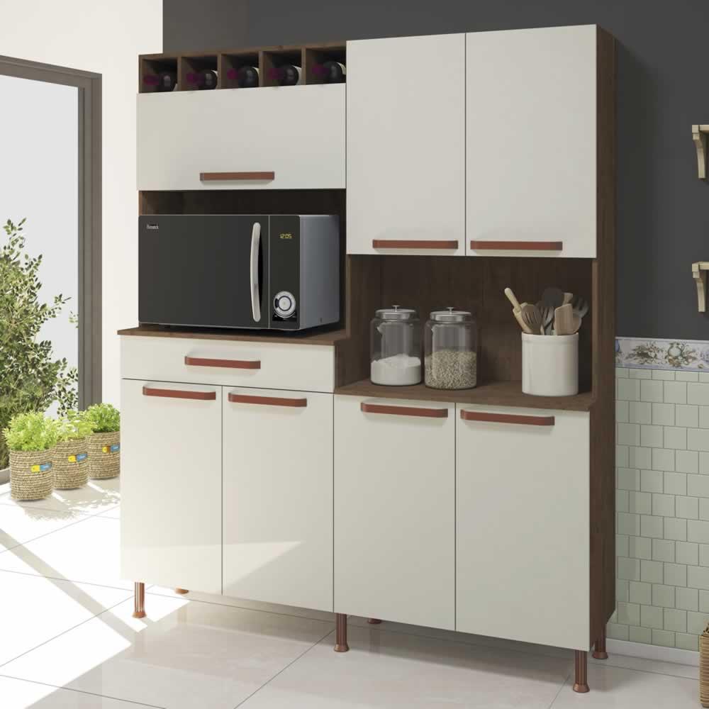 Armário Kit Cozinha Mayra 1,60m  7 Portas 1 Gaveta Noce/Off White - Indekes