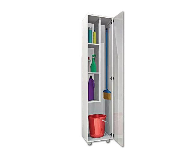Armario Multiuso para Lavanderia 1 Porta e Suporte para Vassoura  - Agne