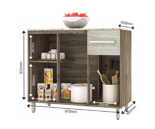 Balcão de Cozinha 3 Portas 1 Gaveta Milla -  Darmovel