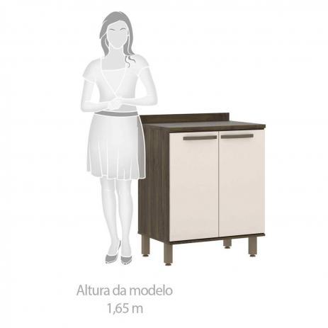 Balcão de Cozinha com Tampo 2 Portas 1 Prateleira e Pés 70cm Sara - Luciane