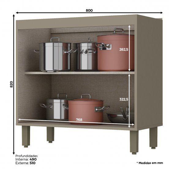 Balcão de Cozinha Modulado 2 Portas 80cm com Tampo Connect Henn