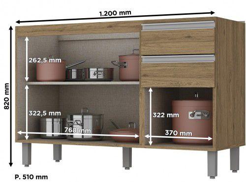 Balcão de Pia Modulado 3 Portas 2 Gavetas 1,20m Integra  - Henn