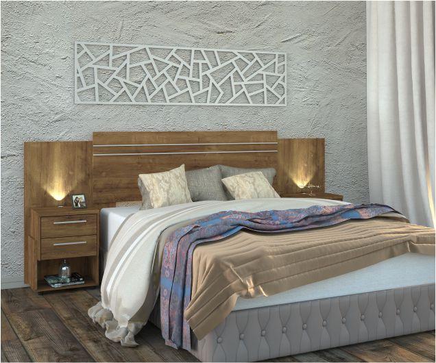 Cabeceira Casal Extensível Bahamas Com Criado e Iluminação Led  - Mira Rack