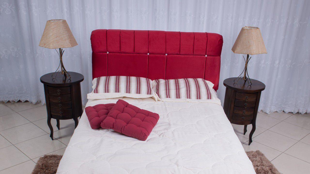 Cabeceira Estofada Alteza Tecido Suede Vermelho - Conforto Total