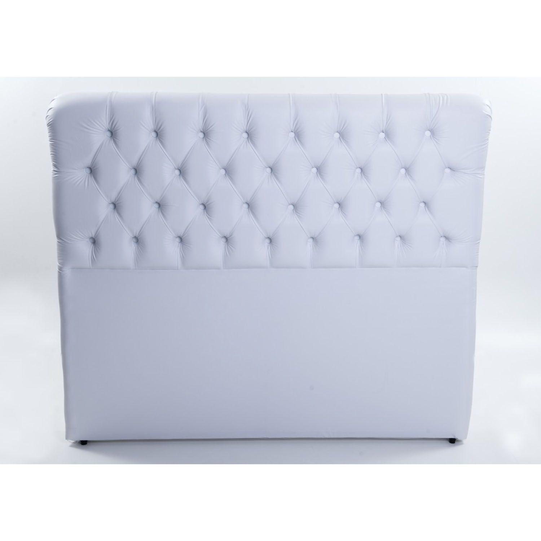 Cabeceira Estofada Condessa Tecido Suede Branco - Conforto Total