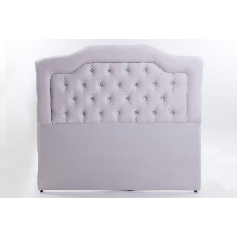Cabeceira Estofada Elegance em Tecido Suede Branco com Strass  – Conforto Total