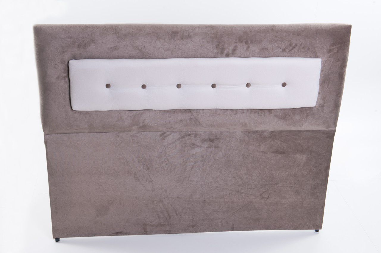 Cabeceira Estofada Relevo em Tecido Suede com Botões  - Conforto Total