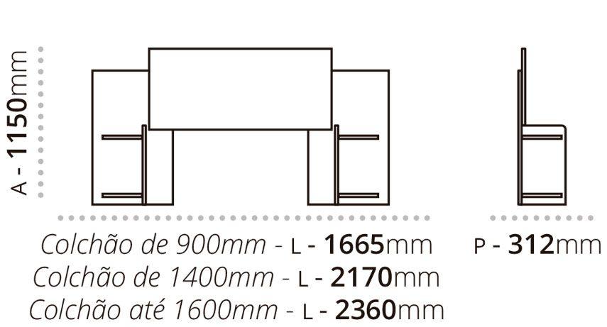 Cabeceira Extensível Lara com Criado Solteiro até Queen 1,58m   - Fênix