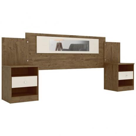 Cabeceira Sevilha Com Espelho E Criados Castanho Wood Baunilha - Moval