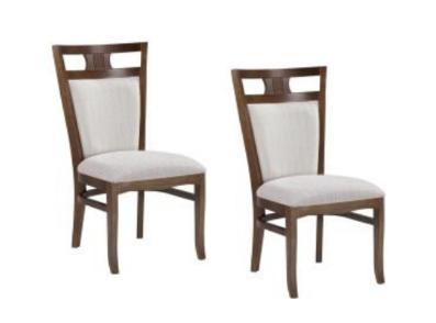 Kit 2 Cadeiras Estofadas Helena  Madeira Maçica Estofado Bege - Meira