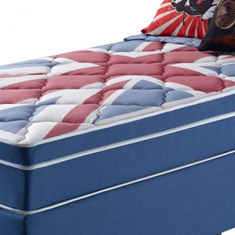 Cama Box Solteiro London 88cm Colchão Molas Superlastic - Anjos