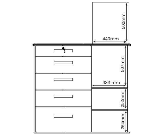 Cômoda Savana Plus 1 Porta e 5 Gavetas com Espelho - Mira Rack
