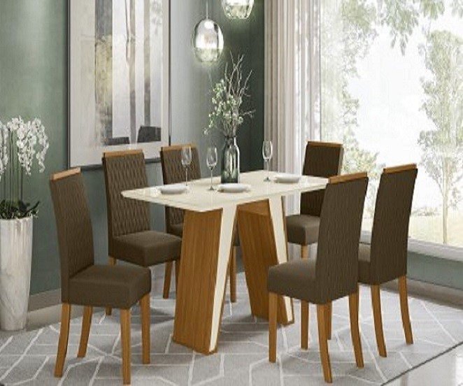 Conjunto de Mesa de Jantar com Tampo de Vidro 160cm Kenya - Henn