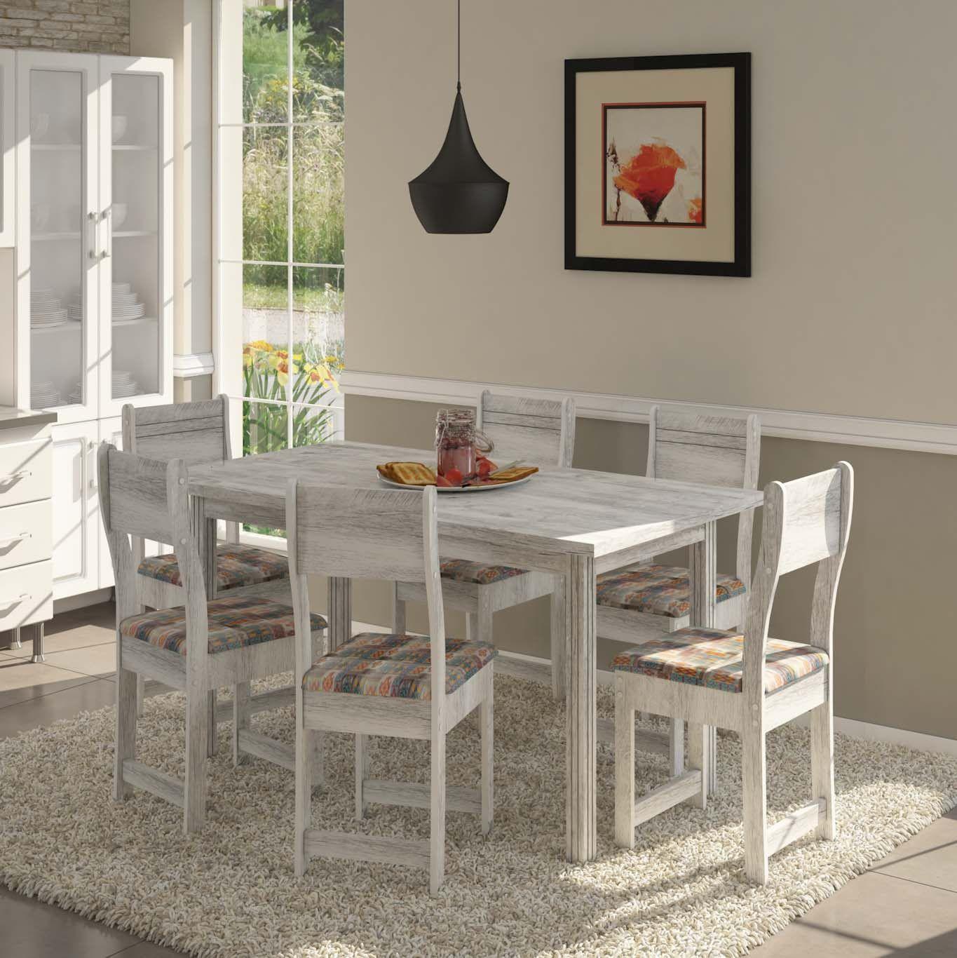 Conjunto de Mesa e 6 Cadeiras Dallas Plus - Indekes