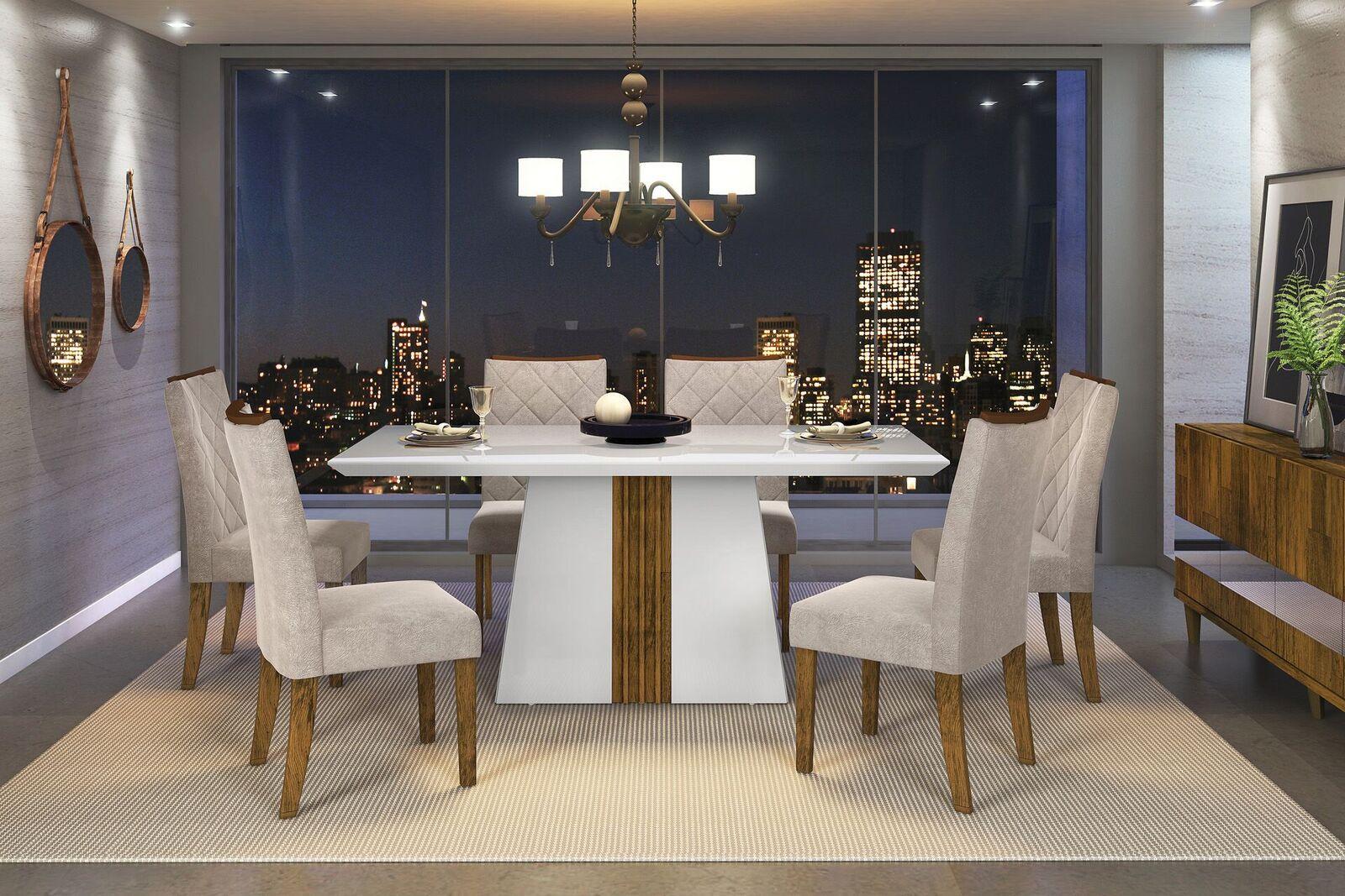 Conjunto de Mesa Itália 1,70m e 6 Cadeiras Golden - DJ Móveis