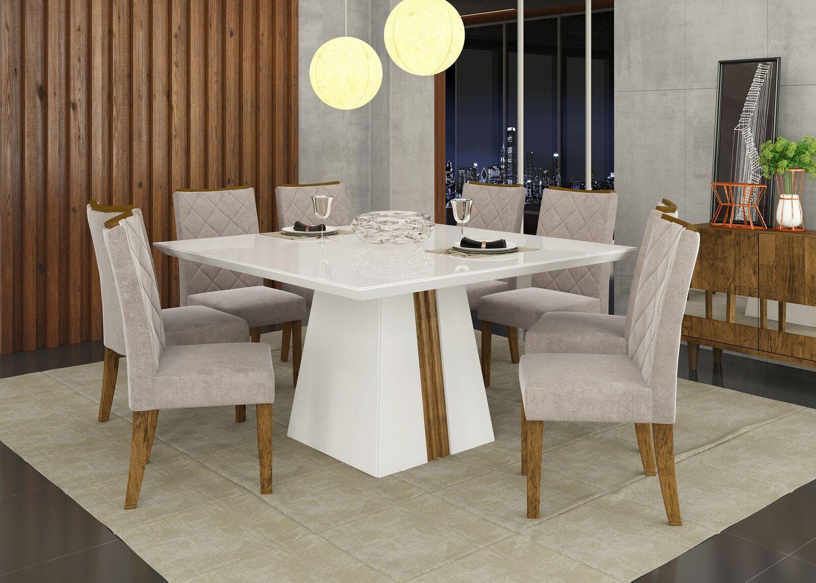 Conjunto de Mesa Itália 1,40m  e 8 Cadeiras Golden - DJ Móveis