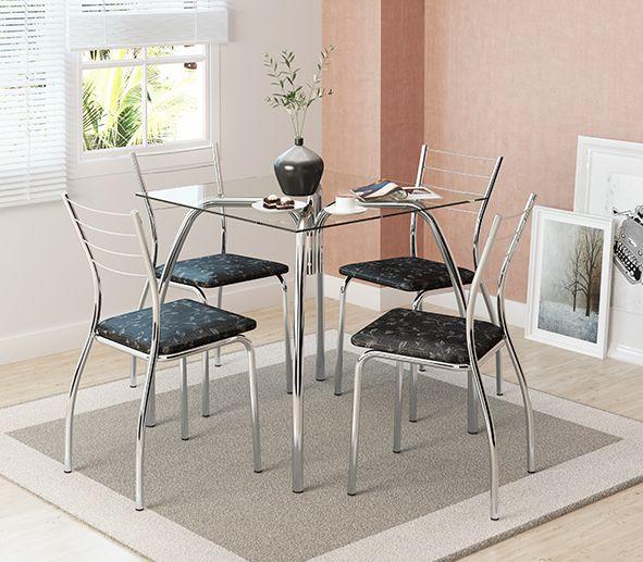 Conjunto de Mesa Quadrada de Vidro e 4 Cadeiras Cromadas - Carraro