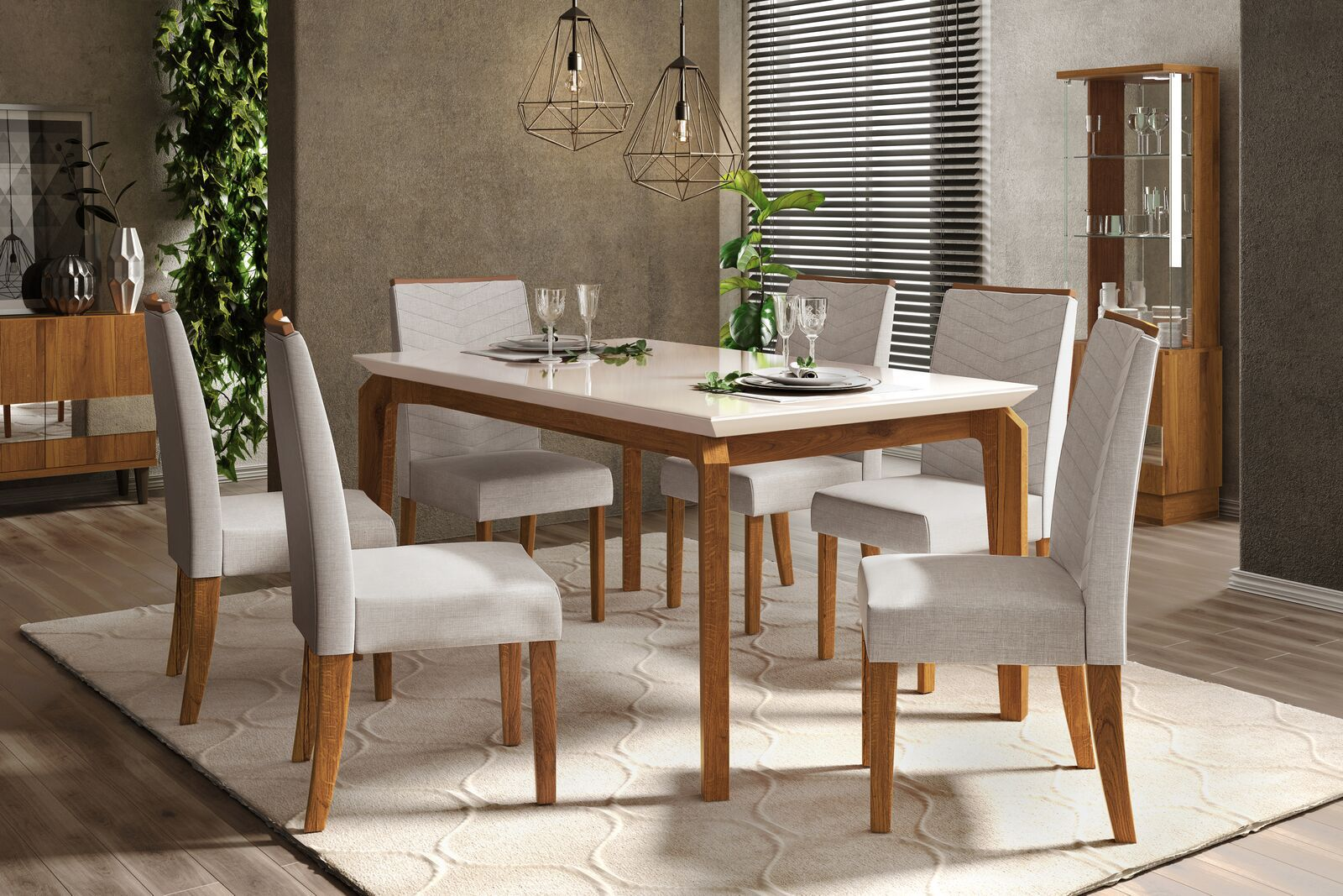 Conjunto de Mesa Rouge 1,70m e 6 Cadeiras Serena Tampo Chanfrado Vidro - DJ Móveis