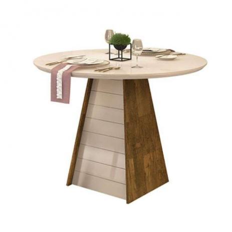 Conjunto Sala de Jantar Fler Mesa Redonda Vidro com 4 Cadeiras Ágata - Demolição / Offwhite - DJ Móveis