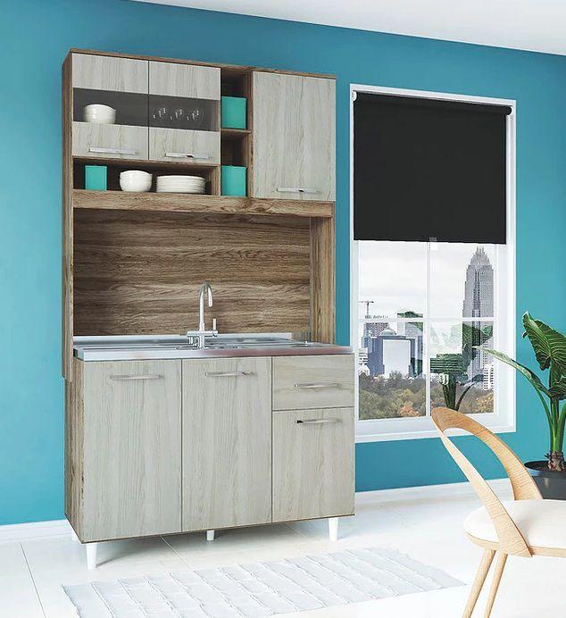 Cozinha Compacta Lorena 1,20m Castanho Malbec - Darmovel
