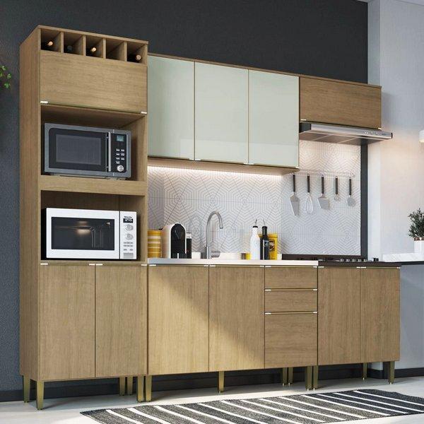 Cozinha Modulada Áustria com 5 Peças 100%MDF - Nogueira/Off White - Casamia