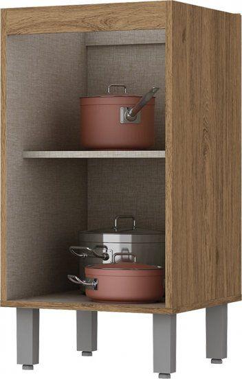 Cozinha Modulada Integra 3 - 9 Peças Portas de Vidro Rústico - Henn