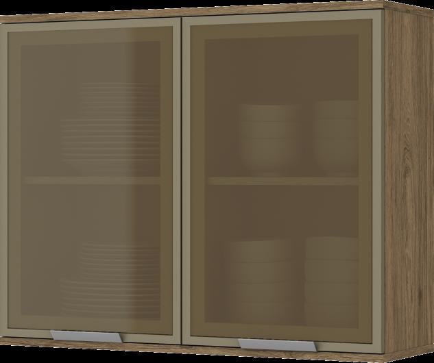 Cozinha Modulada Integra 4 - 6 Peças Porta de Vidro Rústico - Henn