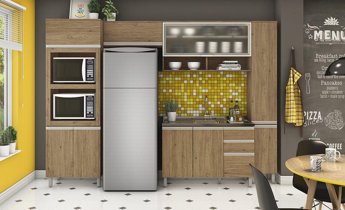 Cozinha Modulada Integra 4 - 5 Peças Porta de Vidro e Nicho - Henn