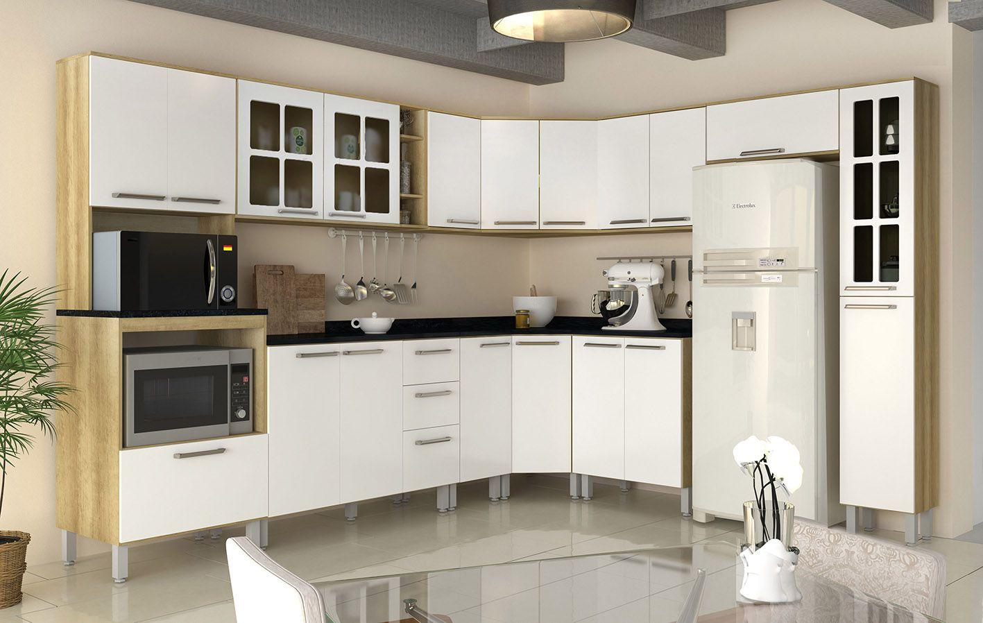 Cozinha Modulada Lara 4 - 11 Peças Portas com Vidro - Luciane